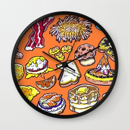 Orange Breakfast Wall Clock
