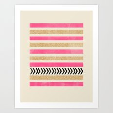 PINK AND GOLD STRIPES AND ARROWS Art Print