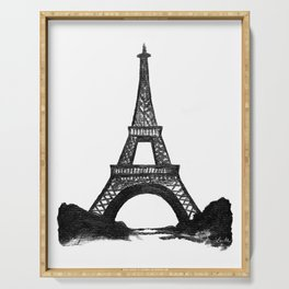 Eiffel Tower in Black Serving Tray