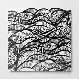 Hand painted black white watercolor abstract floral Metal Print