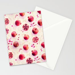Painted Pomegranates with Gold Leaf Pattern Stationery Cards