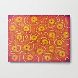 Faded Yoga Flowers Metal Print