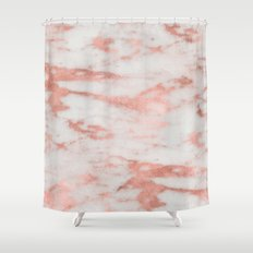 Marble - White Marble with Rose Gold Foil Shower Curtain