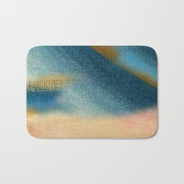 Wind and Rain - acrylic abstract with pink, blue, and brown Bath Mat