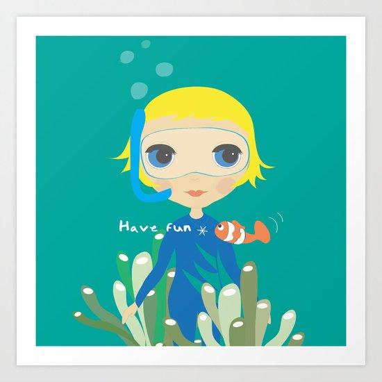 Diver girl Art Print