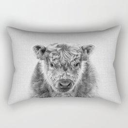 Fluffy Cow - Black & White Rectangular Pillow