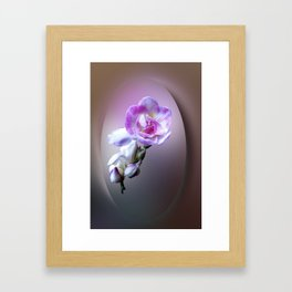 pink freesia flower Framed Art Print