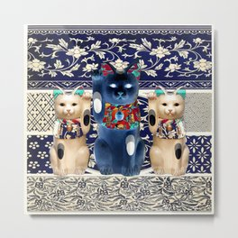 Maneki Neko (Lucky Cat) Trio II Metal Print