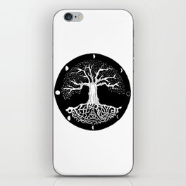 black and white tree of life with moon phases and celtic trinity knot iPhone Skin