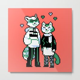 Raccoon & Cat Metal Print
