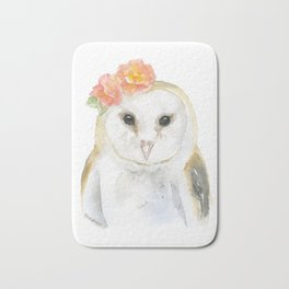 Barn Owl Floral Watercolor Bath Mat