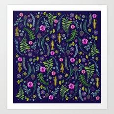 Ferns and Flowers Blue Art Print