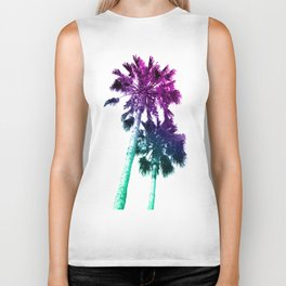 Retro Vintage Ombre Pop Art Los Angeles, Southern California Palm Tree Colored Print Biker Tank