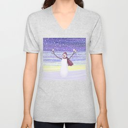 snowman with tufted titmice Unisex V-Neck