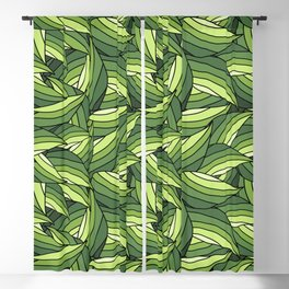 GREENERY LEAVES B  (abstract flowers nature) Blackout Curtain