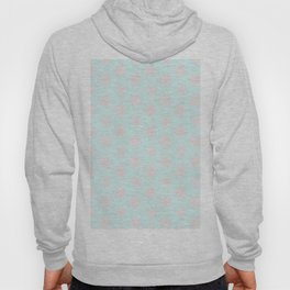 Merry christmas- pink snowflakes and snow on aqua background I Hoody