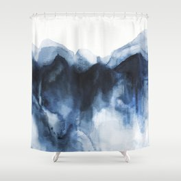 Abstract Indigo Mountains Shower Curtain