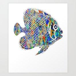 Fish Fishing Fisherman Aquarium Tropical Rainbow Beautiful Fish Angler Ocean Water Sea Art Print