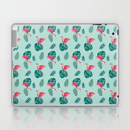 pink flamingo bird on blue and green tropical pattern Laptop & iPad Skin