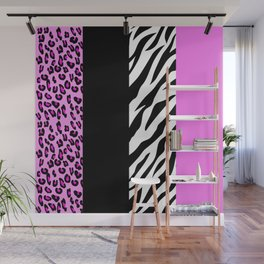 Animal Print, Zebra Stripes, Leopard Spots - Pink Wall Mural
