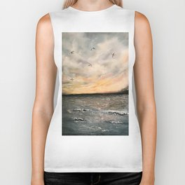 Birds on the ocean Biker Tank