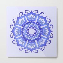 Floral mandala. violet texture. Metal Print