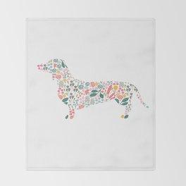 Dachshund Floral Watercolor Art Throw Blanket