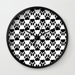Up And Down Dog Paws Wall Clock