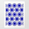 vintage flowers blue  by garimadhawan