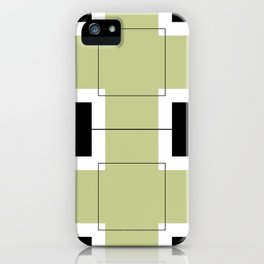 White Hairline Squares in Light Sand iPhone Case
