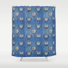 Flowers On Hearts Shower Curtain