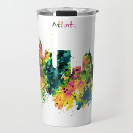 Atlanta Watercolor Skyline Travel Mug
