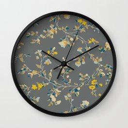 vintage floral vines - greys & mustard Wall Clock
