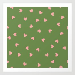 Pink Hearts on Green Background Art Print