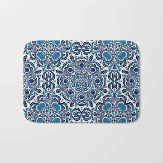 Snowflake fractal pattern Bath Mat