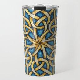 Blue and Gold Celtic Knot Travel Mug