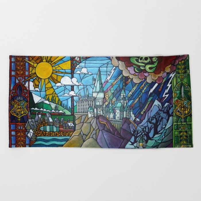 Hogwarts stained glass style Beach Towel