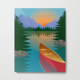 Canoe in a Mountain Lake Pine Tree Forest Metal Print