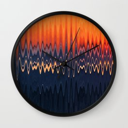Sunset in Waves Wall Clock