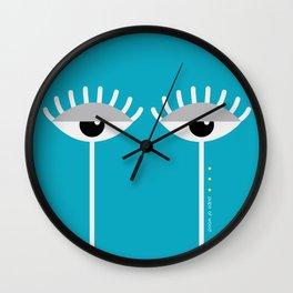 Unamused Eyes   White on Blue Wall Clock