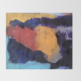 Mountain and Sun Abstract Acrylic Painting on Paper Throw Blanket