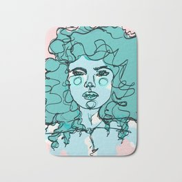 Curly Turquoise Bath Mat