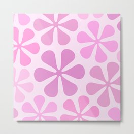 Abstract Flowers in Pinks Metal Print