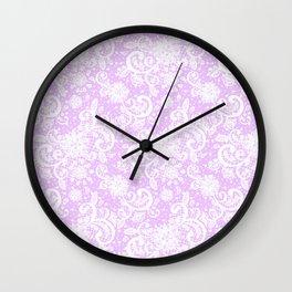 Lace Pattern Neck Gator Lacey Purple Wall Clock