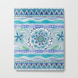 Boho Blue Metal Print