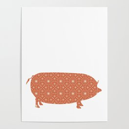 PIG OINKY SILHOUETTE WITH PATTERN Poster
