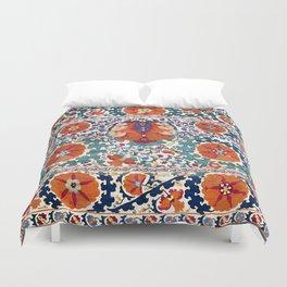 Shakhrisyabz Suzani Uzbekistan Antique Rug Duvet Cover