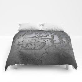 Metal Engraved Tiger Line art Comforters