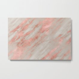 Marble Rose Gold White Marble Foil Shimmer Metal Print