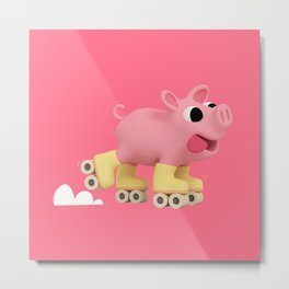 Rosa the Pig does Rollerskating Metal Print